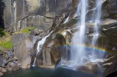 Vernal Fall. Waterfall known as Vernal Fall falling on a smooth wall of granite in Yosemite National Park, California, USA Stock Photos