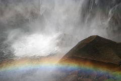 Vernal Fall with rainbow. Merced River. Yosemite national park. California. USA Stock Photos