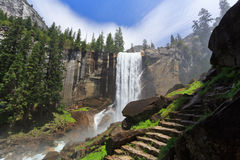 Vernal Fall. With view of hiking steps, Yosemite National Park Royalty Free Stock Photography