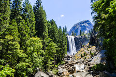 Vernal Falls, Yosemite National Park, California, USA. Vernal Fall is a 317 feet waterfall on the Merced River just downstream of Nevada Fall in Yosemite Royalty Free Stock Images