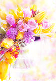 Vernal flowers bouquet over blurred background. Holiday. Beautiful spring flowers - yellow tulips as festive background royalty free stock photography