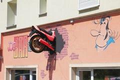 Vernayaz, Martigny, Switzerland. Exterior of Joe Bar Team cafe stock photography