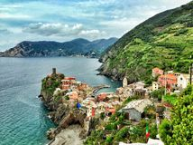 Vernazza意大利在Cinque Terre 库存照片