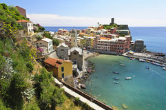 Vernazza村庄- Cinque Terre,意大利 库存图片