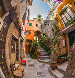 Vernazza胡同, Cinque Terre,意大利我 免版税库存图片