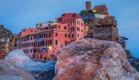 Vernazza, Cinque Terre,意大利-老堡垒 免版税库存图片