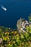 Vernazza, ένα χωριό και ένας αμπελώνας στο Cinque Terre Πανόραμα του χωριού Vernazza και των αμπελώνων του Shiacchetr στοκ εικόνα