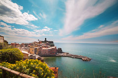 Vernazza市,利古里亚,意大利。 免版税库存照片