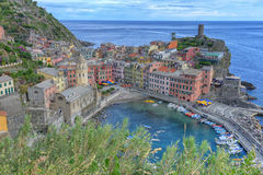 Vernazza aerial view, Cinque Terre, Italy Stock Photo