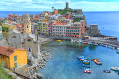 Vernazza aerial view, Cinque Terre, Italy Royalty Free Stock Images