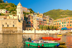 Vernazza. Ancient Italian village on the Mediterranean coast. Royalty Free Stock Images