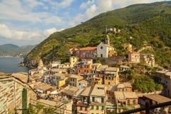 Vernazza-Ansicht in cinque terre Nationalpark, Ligurien, Italien stockfoto
