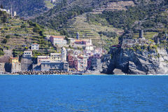 Vernazza architecture from the sea Stock Photography