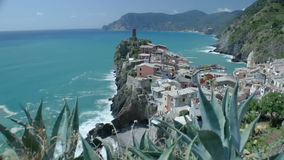 Vernazza beyond cactuses stock footage