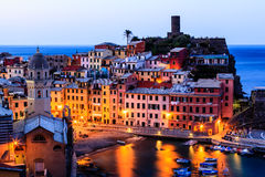 Vernazza Castle and Church at Early Morning Royalty Free Stock Photos