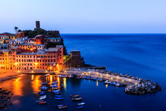 Vernazza Castle and Harbor at Early Morning Stock Images