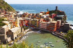 Vernazza, Cinque Terra, Italy. High Angle view of Vernazza, Cinque Terra, Italy Stock Photo