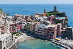 Vernazza - Cinque Terre. From the footpath, aerial view of Vernazza - Cinque Terre - Ligurian Sea Stock Images