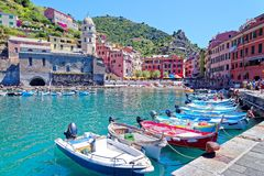 Vernazza, Cinque Terre, Itally Stock Afbeeldingen