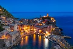 Vernazza, Cinque Terre, Italy. The colorful village of Vernazza at twilight. Cinque Terre, Italy. Unesco World Heritage Royalty Free Stock Image