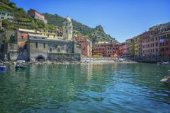 Vernazza,Cinque Terre,Italy. Colorful harbor at Vernazza, Cinque Terre, Italy. Very unique and timeless stock photo