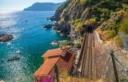 Vernazza, Cinque Terre, Italy - Railway line Stock Photos
