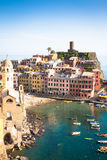 Vernazza in Cinque Terre, Italy - Summer 2016 - view from the hi Royalty Free Stock Images