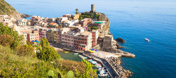 Vernazza in Cinque Terre, Italy - Summer 2016 - view from the hi Stock Photos