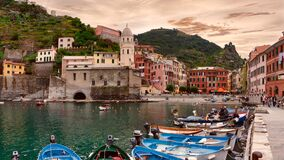 Vernazza,Cinque Terre,Italy, 2008: tourists and fishermen boats in harbor