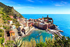 Vernazza Cinque Terre Italy With Railway Royalty Free Stock Photo