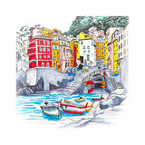 Vernazza, Cinque Terre, Liguria, Italy. Colorful fishing boats and funny houses in Riomaggiore harbour in Five lands, Cinque Terre National Park, Liguria, Italy Royalty Free Stock Photo