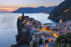 Vernazza in Cinque Terre, Liguria, Italy, on sunset Stock Images