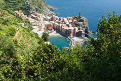 Vernazza, Cinque Terre, Ligurien, Italien stockbilder