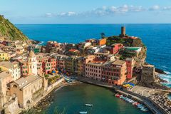 Vernazza in Cinque Terre National Park in Italy stock images