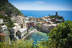 Vernazza in the Cinque Terre seen from cliff path Stock Image