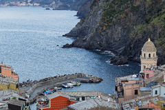 Vernazza clock tower Royalty Free Stock Images