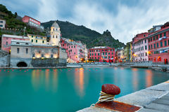 Vernazza at Dusk. The Village of Vernazza in the Cinque Terre region of North Western Italy is the most beautiful of five similar coastal villages.  Here Stock Images