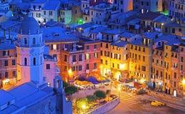 Vernazza en la noche azul Fotos de archivo