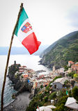 Vernazza Framed by Italian Flag Royalty Free Stock Photos