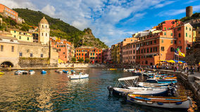 Vernazza Harbor. Beautiful Vernazza village in Cinque Terre National Park, Italy Royalty Free Stock Photos