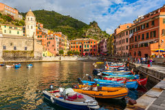 Vernazza Harbor. Beautiful Vernazza village in Cinque Terre National Park, Italy Royalty Free Stock Photography