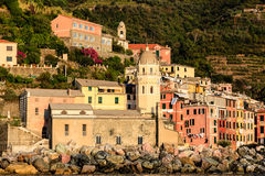 Vernazza Harbor front Church at Sunset Stock Images