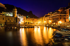 Vernazza Harbor at Night in Cinque Terre stock photo