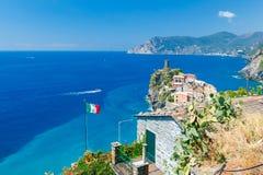 Vernazza. Italian flag on the mast. Royalty Free Stock Image