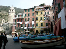 Vernazza - Italy. Vernazza. The Cinque Terre are five coastal villages in the province of La Spezia in the Liguria region of Italy.- Boats on the village square Royalty Free Stock Images