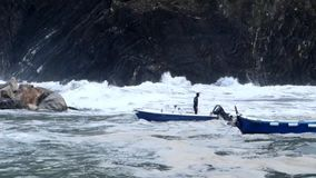 Vernazza, Italy - April 28, 2017 - Sea Storm Hits Vernazza As Man Walks In His Boat