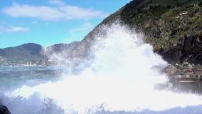 Vernazza, Italy - April 28, 2017 - Sea Storm Hits Vernazza As Waves Flood Beach Again