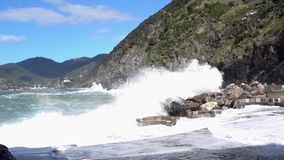 Vernazza, Italy - April 28, 2017 - Sea Storm Hits Vernazza As Waves Flood Beach
