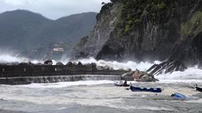 Vernazza, Italy - April 28, 2017 - Sea Storm Hits Vernazza As Waves Toss Boats