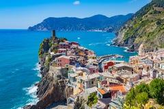 Vernazza in La Spezia, Italië Stock Afbeelding